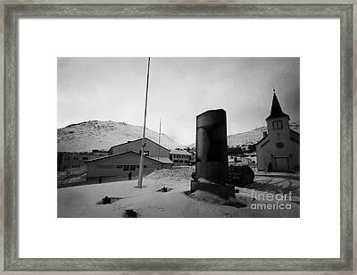 world war 2 two memorial outside Honningsvag kirke church finnmark norway europe Framed Print