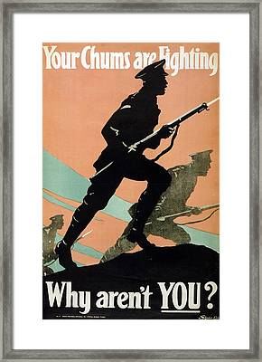 World War I 1914-1918 British Army Recruitment Poster 1917 Your Chums Are Fighting Framed Print by Anonymous