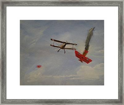 World War I Dogfight 3 Planes In Battle Framed Print by Carl S Kralich