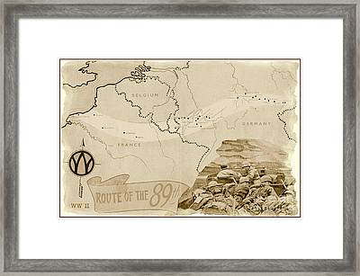World War I I Map Route Of The 89th Framed Print