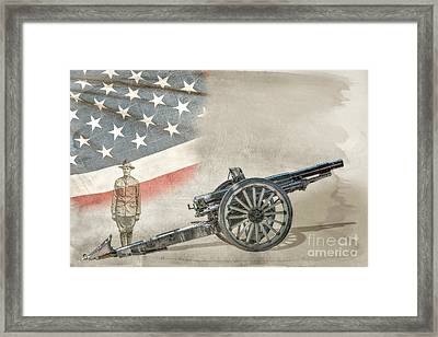 World War I Soldier And Cannon Framed Print by Randy Steele