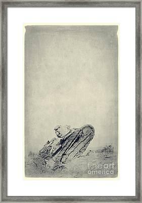 World War I Tank In Trench Warfare Framed Print by Edward Fielding