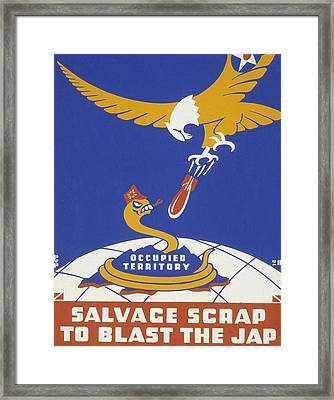 World War II 1939-1945 Anti Japanese Poster Sponsored By The Thirteenth Naval District Framed Print