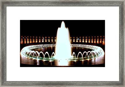 World War II Memorial And Fountain At Night Framed Print