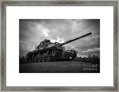 World War II Tank Black And White Framed Print by Glenn Gordon