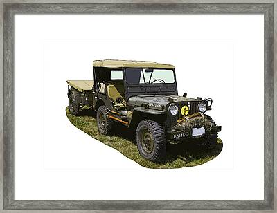 World War Two Army Jeep With Trailer  Framed Print