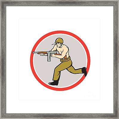 World War Two Soldier American Tommy Gun  Framed Print by Aloysius Patrimonio