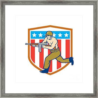 World War Two Soldier American Tommy Gun Shield Framed Print by Aloysius Patrimonio