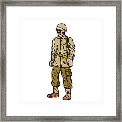 World War Two Soldier Standing Linocut Framed Print by Aloysius Patrimonio
