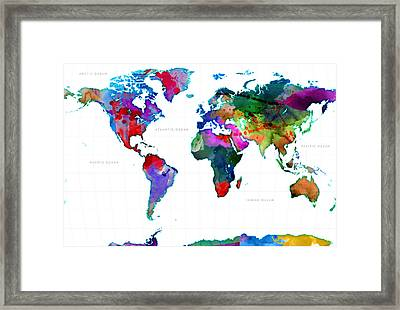 World Watercolor Map #3 Framed Print