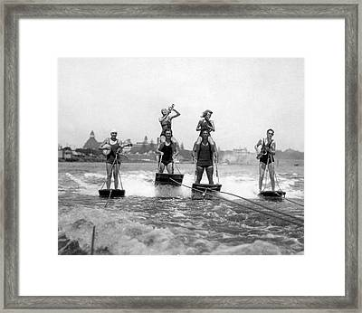 World's Only Aquaplane Band Framed Print by Underwood Archives