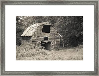 Worn Down Barn - Sepia Framed Print by Gregory Ballos