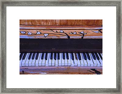 Worn Funky Piano Framed Print by Garry Gay