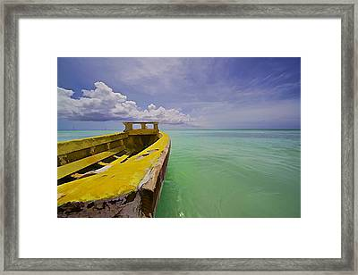 Worn Yellow Fishing Boat Of Aruba II Framed Print