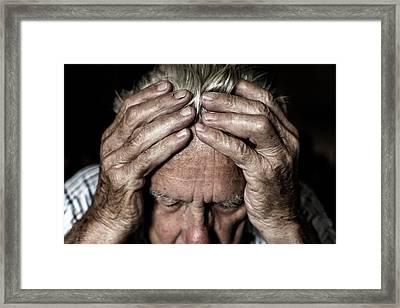 Worried Elderly Man Framed Print