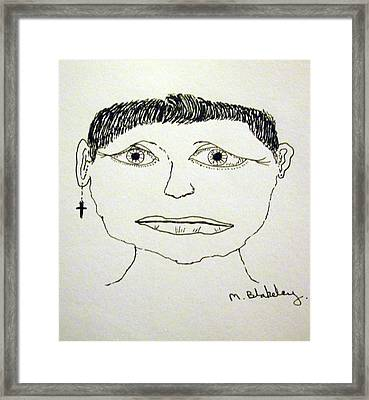 Framed Print featuring the drawing Worried Female by Martin Blakeley