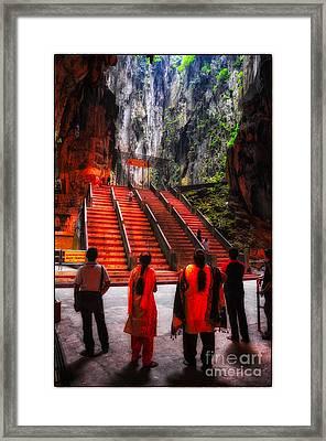 Worshipers At Batu Caves Hindu Temple - Kuala Lumpur - Malaysia Framed Print