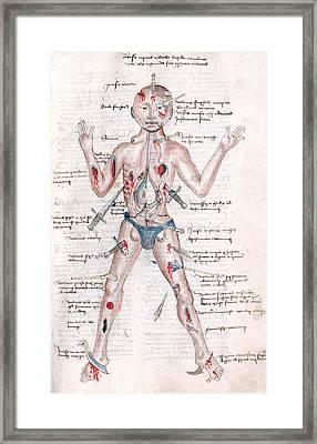 Wound Man, 1485 Framed Print