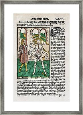 Wound Man And Alchemy Framed Print by National Library Of Medicine