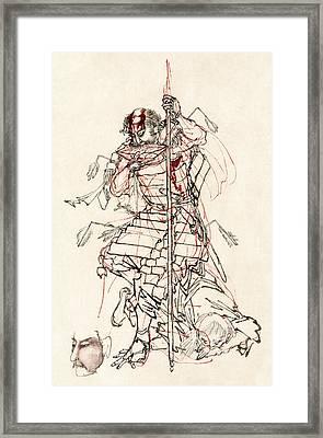 Wounded Samurai Drinking Sake C. 1870 Framed Print by Daniel Hagerman