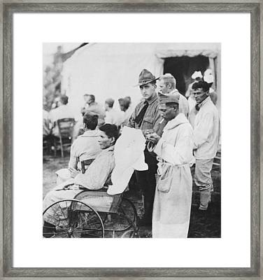 Wounded Soldiers Get Music Framed Print by Underwood Archives