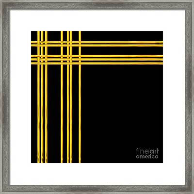 Woven 3d Look Golden Bars Abstract Framed Print by Rose Santuci-Sofranko