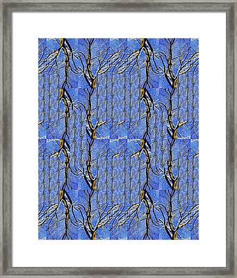 Woven Tree In Blue And Gold Framed Print