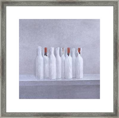 Wrapped Bottles On Grey 2005 Framed Print by Lincoln Seligman