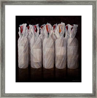 Wrapped Wine Bottles Framed Print by Lincoln Seligman