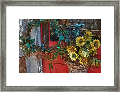 Wreath And The Red Door Framed Print