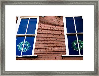 Wreaths In A Window Framed Print by Audreen Gieger-Hawkins