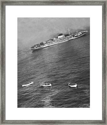 Wreck Of The Andrea Doria Framed Print by Ollie Noonan