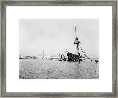 Wreck Of Uss Maine In Havana Framed Print