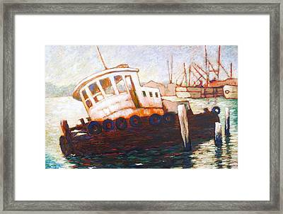 Framed Print featuring the painting Wrecked Tug by Charles Munn