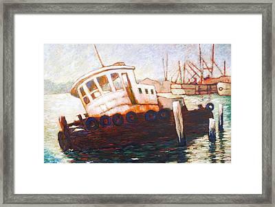 Wrecked Tug Framed Print by Charles Munn