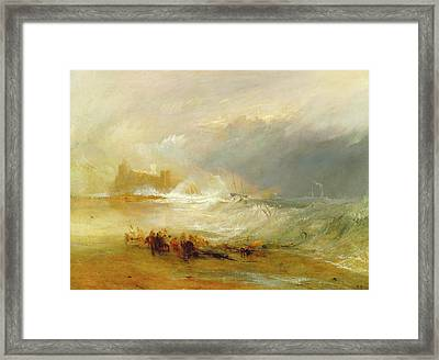 Wreckers -- Coast Of Northumberland, With A Steam-boat Framed Print by Litz Collection