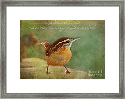 Wren With Verse Framed Print