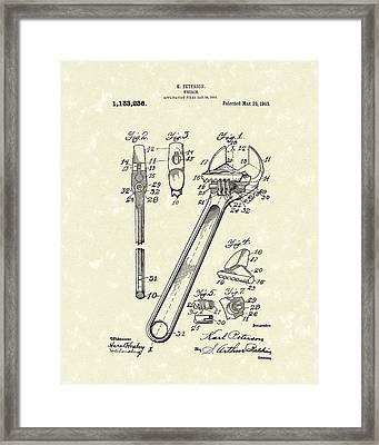 Wrench 1915 Patent Art Framed Print