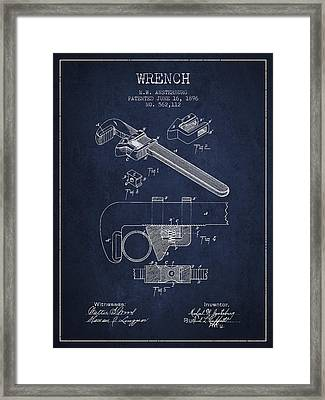 Wrench Patent Drawing From 1896 Framed Print