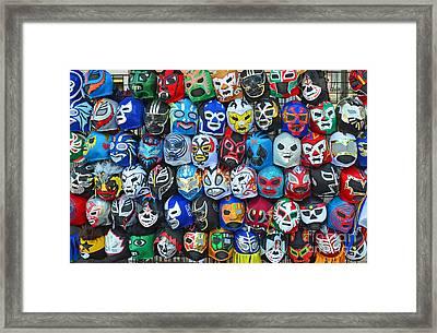 Wrestling Masks Of Lucha Libre Framed Print