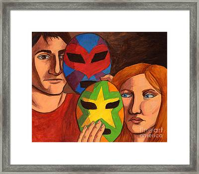 Wrestling With Their Feelings Framed Print by Whitney Morton