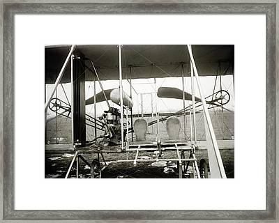 Wright Biplane Engine And Seats Framed Print by Library Of Congress