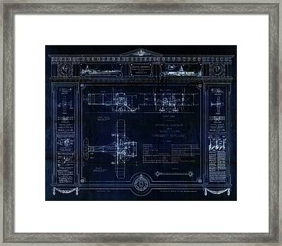 Wright Bros 'roadster' Biplane Blueprint - 1908 Framed Print by Daniel Hagerman