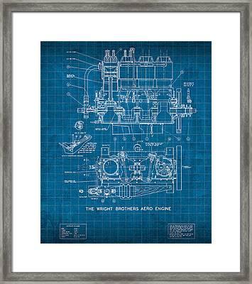 Wright Brothers Aero Engine Vintage Patent Blueprint Framed Print