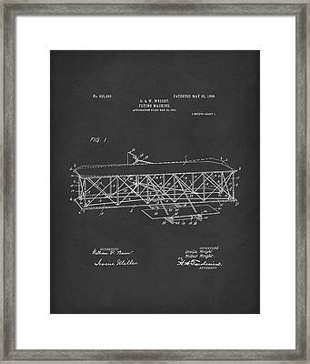 Wright Brothers Flying Machine 1906 Patent Art Black Framed Print