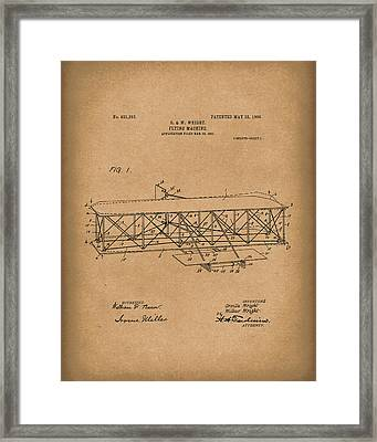 Wright Brothers Flying Machine 1906 Patent Art Brown Framed Print
