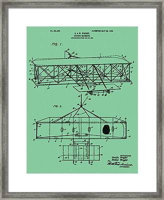 Wright Brothers Patent Green Framed Print by Dan Sproul
