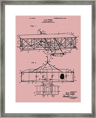 Wright Brothers Patent Red Framed Print by Dan Sproul