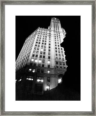 Wrigley Building At Night Framed Print by Underwood Archives