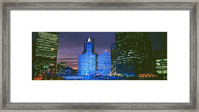 Wrigley Building, Blue Lights, Chicago Framed Print by Panoramic Images